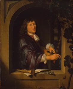 Man met een viool in een venster