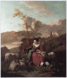 Zuidelijk landschap met herderin, jongen en schapen bij een hut