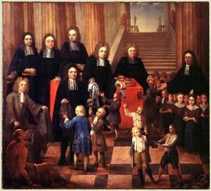 Groepsportret van regenten en binnenvader van een weeshuis