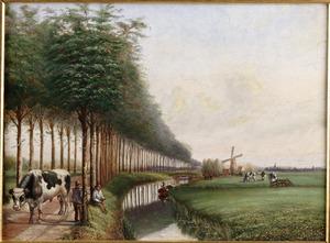 Landschap in West-Friesland met bulloper op een landweg en een visser