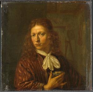 Zelfportret van de schilder met in de rechterhand een medaillonportret