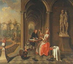 Een zittende vrouw die fruit aangeboden krijgt in een galerij
