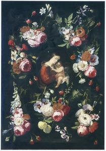 Maria met kind, omgeven door bloemfestoenen