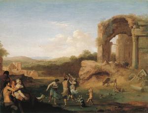 Landschap met dansende nimfen en herders bij een ruïne