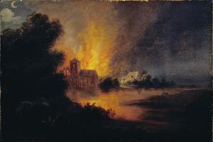 Brand in een dorp met vluchtende mensen