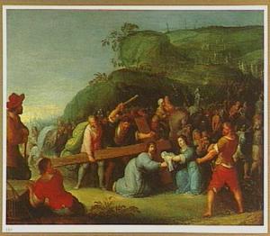 Christus val onder het kruis en de H. Veronica met de zweetdoek