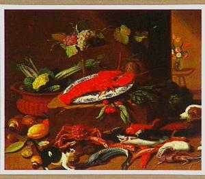 Vechtende hond en kat bij een stilleven met zeedieren en groente