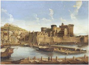Gezicht op de haven van Napels, met Castel Nuovo en Capodimonte