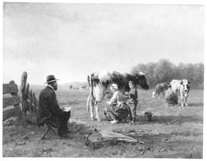 Kunstenaar maakt schetsen van boerin en zoon