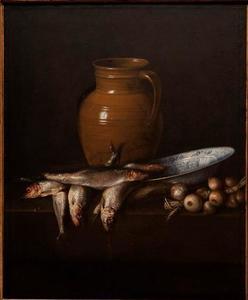 Stilleven met haringen, uien en vaatwerk