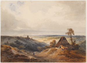 Panoramalandschap met een hut