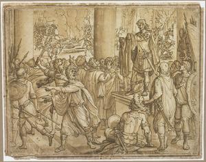 Een Romeins veldheer toont een mantel aan soldaten, op de achtergrond brandschattend leger