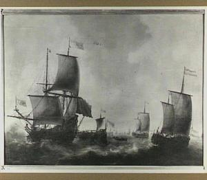 Haringvloot onder bescherming van oorlogsschepen