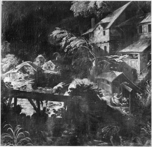 Landschap met boerderijen en een brug