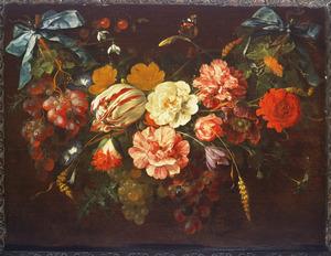 Guirlande van bloemen en vruchten