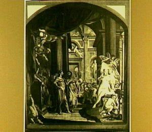 Zeus neemt Pandora in ontvangst van Hephaistos