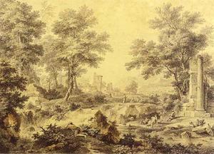 Arcadisch landschap met herders en vee bij een ruïne