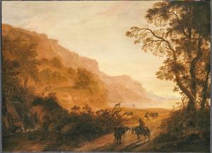 Zuidelijk landschap met reizigers onderweg
