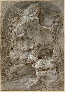 Stenen boog en rotspartij bij een beek  in Tivoli
