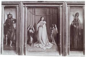 De H. Christoforus (links), Maria met kind en musicerende engelen (midden) Heilige bisschop (rechts)
