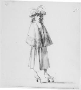 Elegant geklede staande man met baret