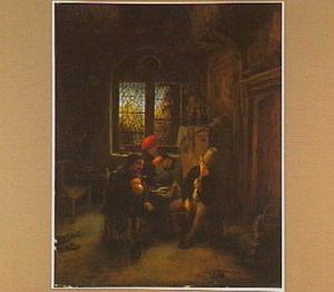 Interieur met drie rokende en drinkende mannen