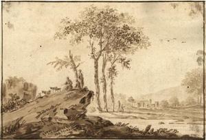 Landschap met herderinnen en schapen op een rotsblok