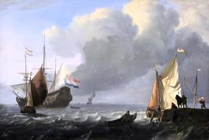 Hollandse driemaster en andere schepen voor de kust; rechts een aanlegsteiger waar schepen geladen worden