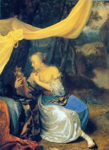 Jonge vrouw met een spiegel onder een baldakijn in een landschap