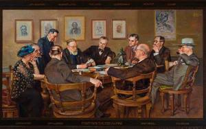 Het arti-bestuur in bespreking met enige leden