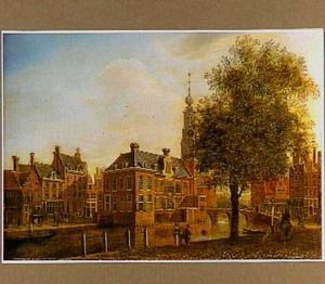 De Munttoren en de Doelensluis aan het Singel in Amsterdam