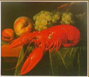 Stilleven met kreeft en vruchten
