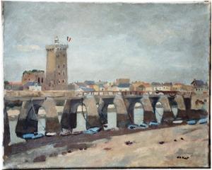 """Stadsgezicht Les Sables d'Olonne met brug en """"Tour d'Arundel"""""""