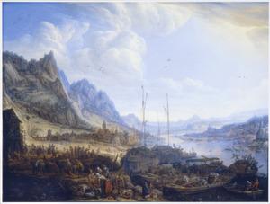 Aanlegplaats langs de Rijn met vissers en handelaars op de kade; in het verschiet een stad