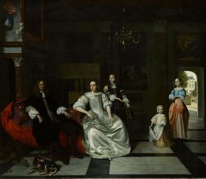 Familieportret van Jan Jacott (1632-1683) en Elisabeth Hoppesack (1633-  ) met hun twee dochters en zoon