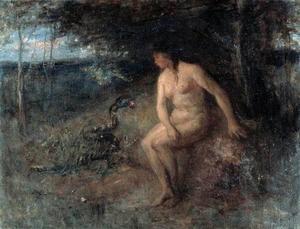 De slang tracht Eva over te halen het fruit van de boom te plukken (Gensis 3:4)