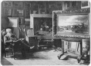 De kunstschilder Willem Roelofs in zijn atelier