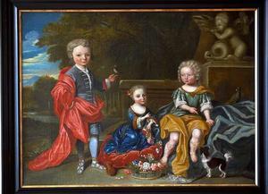 Familieportret van twee jongens en een meisje uit de familie Van Vollenhoven