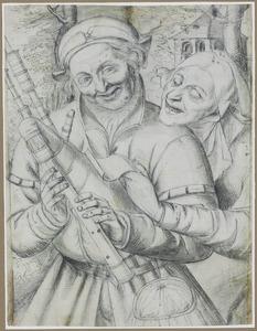 Doedelzakspeler en oude vrouw