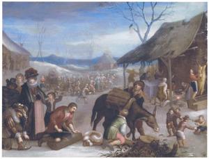 De vier seizoenen: de winter, met ijsvermaak, houtsprokkelen, de slacht en de verering van vadertje winter