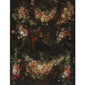 Vruchten- en bloemenfestoenen rond een cartouche met een musicerend trio