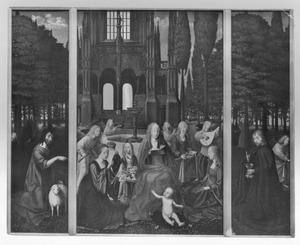 Maria met kind, heiligen en engelen