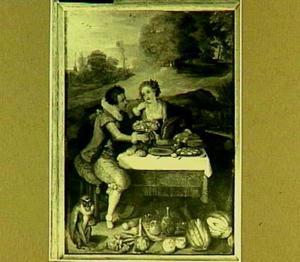 Een man en een vrouw aan een copieuze maaltijd in een