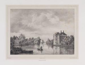 Gezicht op de Rijn met aan de rechteroever de hofstede Rhijnhof