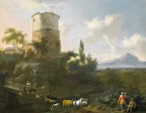 Zuidellijk heuvellandschap met herders en vee bij een ruïne van een toren