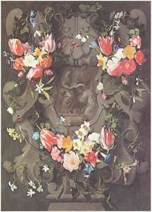 Gebeeldhouwde cartouche versierd met bloemen rondom een voorstelling van Maria met het Christuskind en Sint-Ildefons