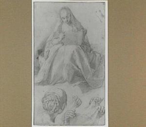 Zittende vrouw en studie van handen en een hoofd