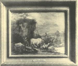 Herders met vee bij een rots