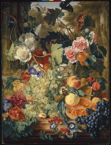 Stilleven van bloemen en vruchten op een marmeren blad