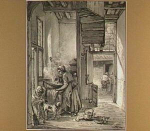 Interieur met wassende vrouw bij een trap